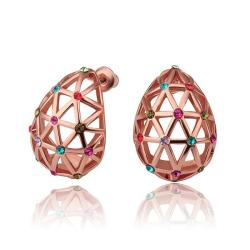 Vienna Jewelry 18K Rose Gold Laser Cut Emblem Studs Made with Swarovksi Elements - Thumbnail 0