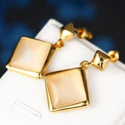 Vienna Jewelry 18K Gold Square Shaped Drop Down Earrings Made with Swarovksi Elements - Thumbnail 0