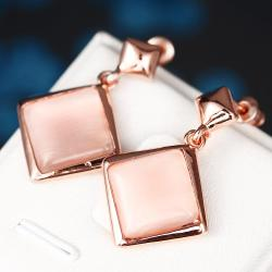 Vienna Jewelry 18K Rose Gold Square Shaped Drop Down Earrings Made with Swarovksi Elements