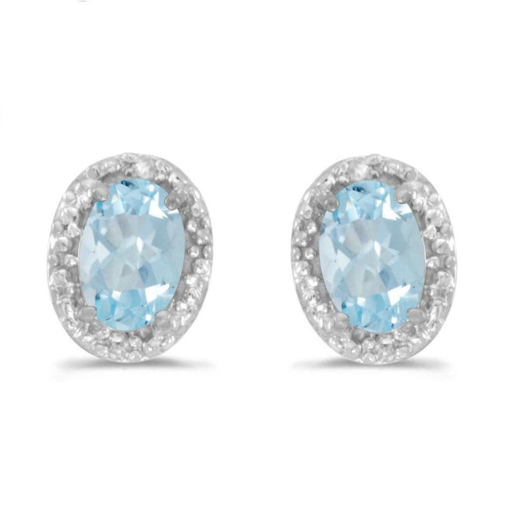Amanda Rose Aquamarine and Diamond Earrings set in 14K White Gold
