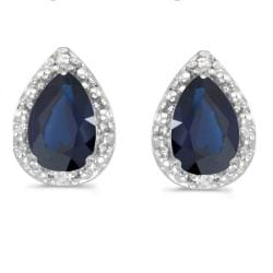 Amanda Rose Sapphire and Diamond Stud Earrings in 14K White Gold - Thumbnail 0