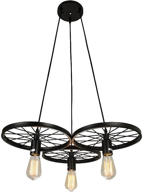 3 light vintage industrial art barn wheels chandelier pendant lamp light