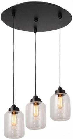 3 lights vintage glass mason jar pendant lamp light chandelier - Thumbnail 0