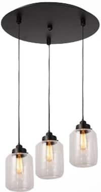 3 lights vintage glass mason jar pendant lamp light chandelier