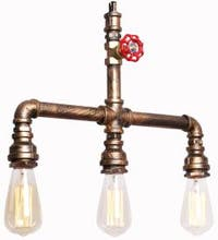 3 light vintage industrial island water pipe chandelier with painted finish