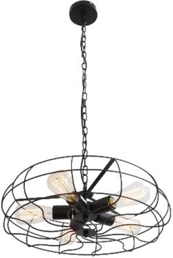 Black 5 light retro barn industrial painted chain chandelier pendant lamp light
