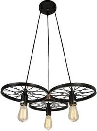 3 light vintage industrial art barn wheels chandelier pendant lamp light