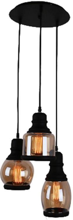 3 lights Mason Jar glass black painted pendant lamp light - Thumbnail 0