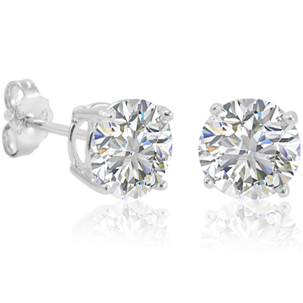 Amanda Rose Sterling Silver Round Cubic Zirconia Stud Earrings (7mm 4ct tw)