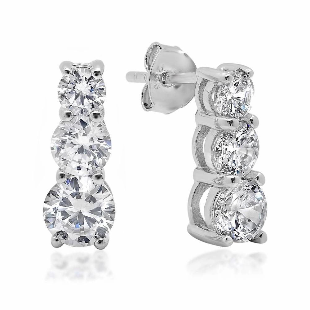 Amanda Rose 5ct tw Three Stone Round Cubic Zirconia Earrings in Sterling Silver