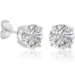 Amanda Rose Sterling Silver Round Cubic Zirconia Stud Earrings (7mm 4ct tw) - Thumbnail 0