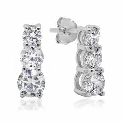 Amanda Rose 5ct tw Three Stone Round Cubic Zirconia Earrings in Sterling Silver - Thumbnail 0