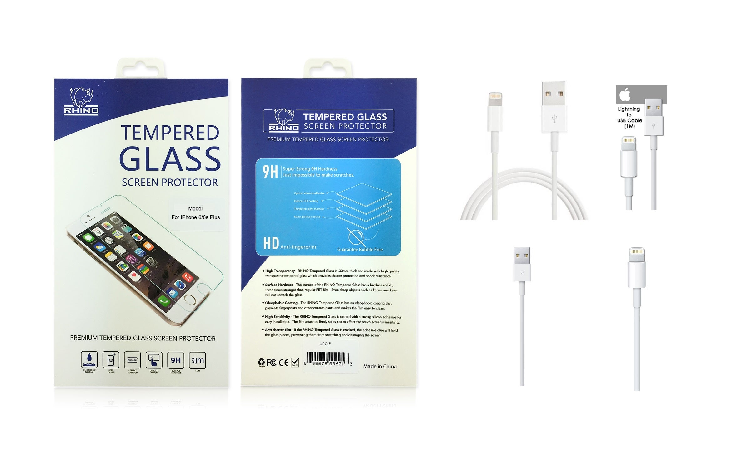 Rhino Tempered Glass Screen Protector with 2PK Apple Lightning Sync Charge Cable for Apple iPhone 6 / 6S / 6 Plus / 6S Plus