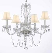 Murano Venetian Style All Crystal Chandelier Lighting With White Shades H25 x W24
