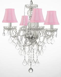 New Authentic All Crystal Chandelier Lighting With Pink Shades