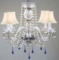 Venetian Style All Crystal Chandelier Lighting With Blue Crystals