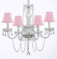 Venetian Style All Crystal Chandelier Lighting With Pink Shades H25 x W24
