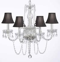 Venetian Style All Crystal Chandelier Lighting With Black Shades H25 x W24