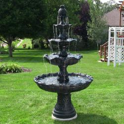 Sunnydaze 4-Tier Grand Courtyard Fountain, 80 Inch Tall