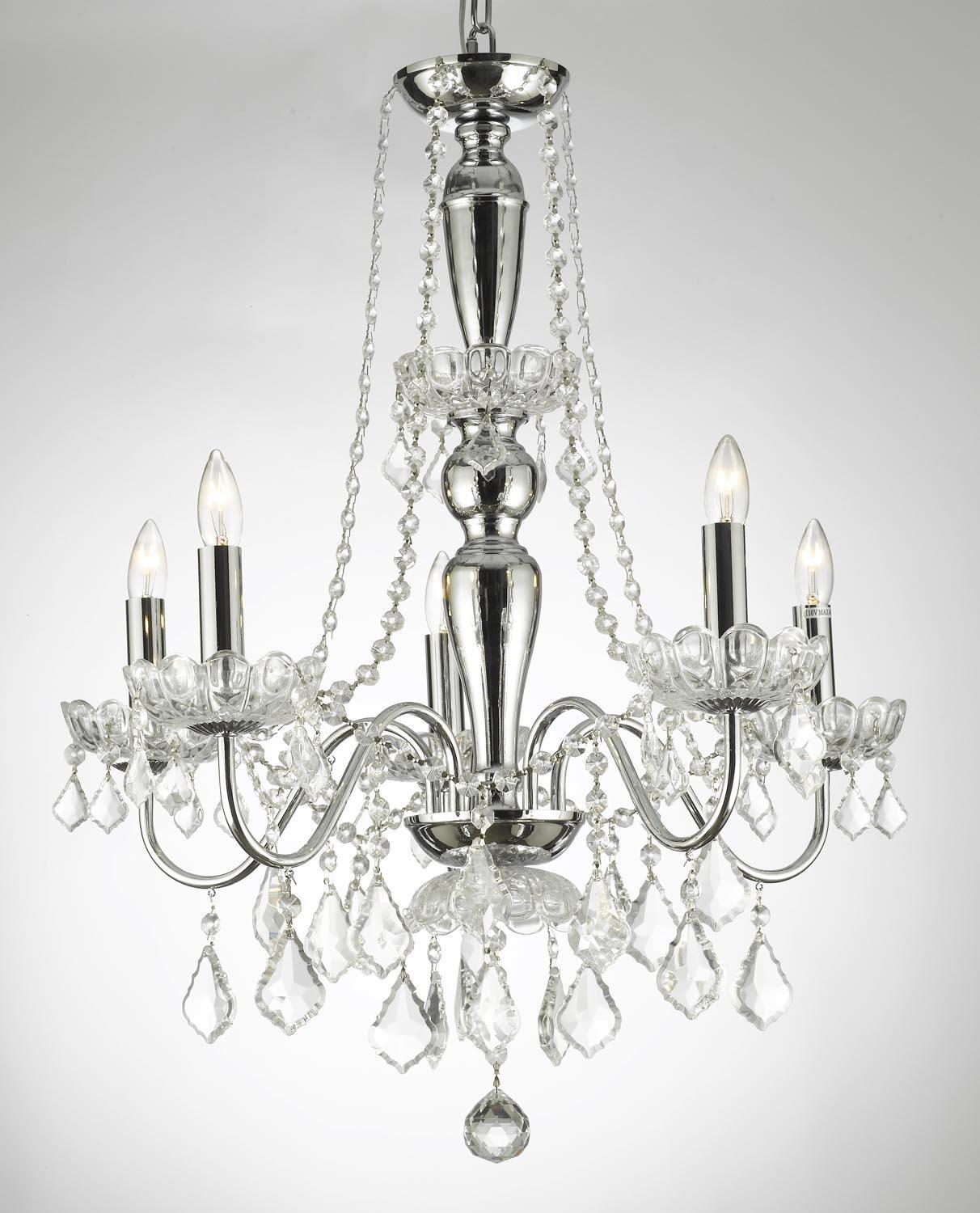 Elegant Crystal Chandelier With 5 Lights Pendant Lighting Fixture Light Lamp