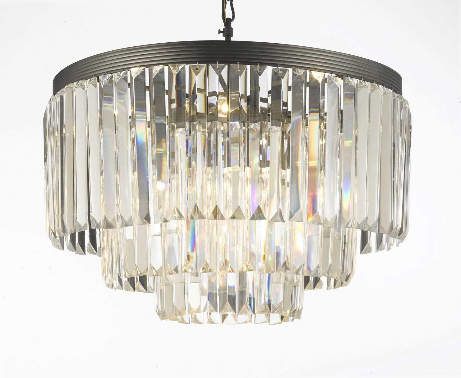 Odeon Crystal Glass Fringe 3 -Tier Chandelier Lighting