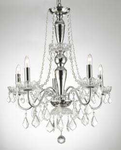 Elegant Crystal Chandelier With 5 Lights Pendant Lighting Fixture Light Lamp - Thumbnail 0