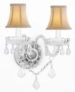 Murano Venetian Style Crystal Wall Sconce Lighting With White Shades|https://ak1.ostkcdn.com/images/products/101/457/P18534383.jpg?impolicy=medium