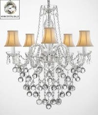 All Crystal Chandelier Lighting With 40 mm Crystal Balls & White Shades