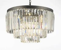 Palladium Crystal Glass Fringe 3 -Tier Chandelier Lighting