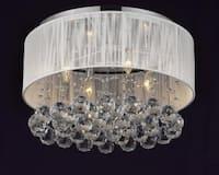 Flush Mount 4 Light Chrome & White Shade Crystal Chandelier Lighting