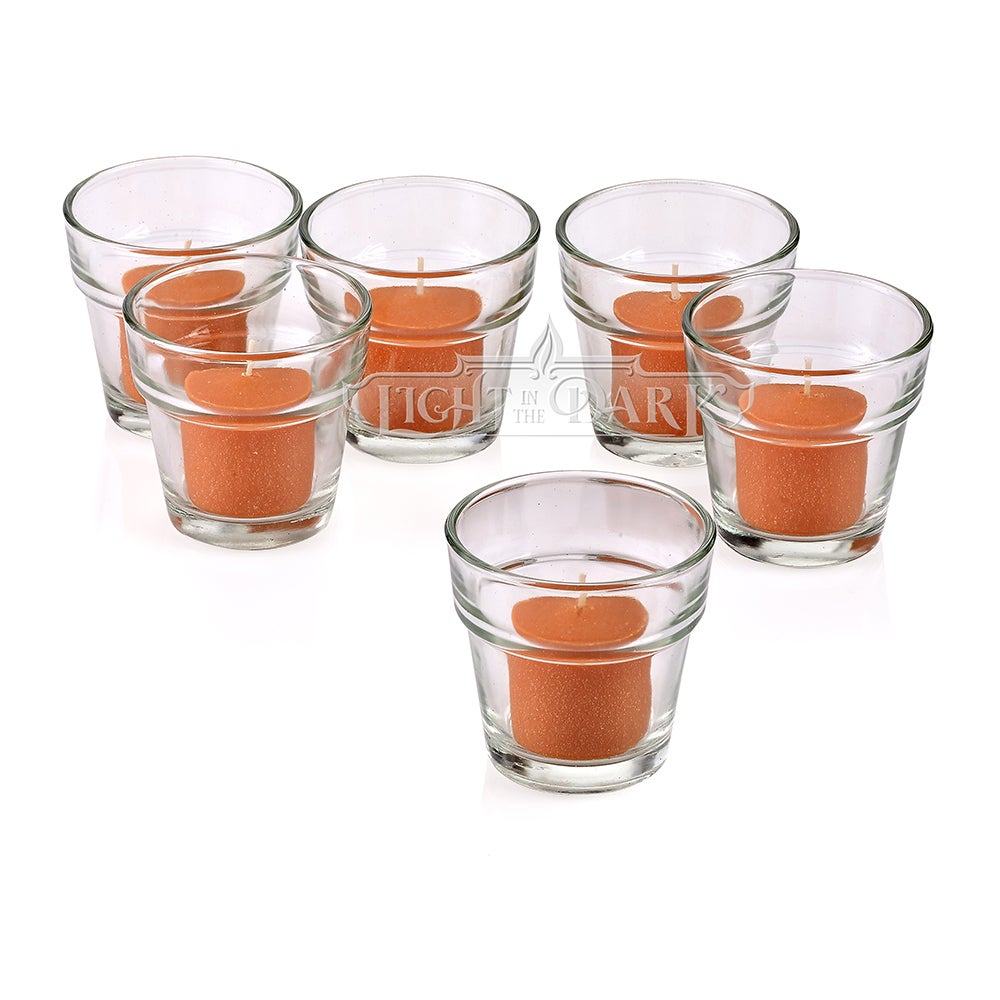 Clear Glass Flower Pot Votive Candle Holders with Orange Votive Candles Burn 10 Hours Set Of 12