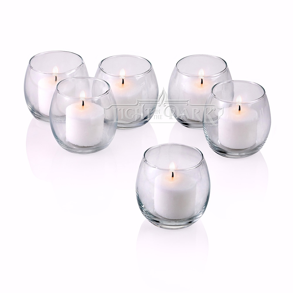 Clear Glass Hurricane Votive Candle Holders With White votive candles Burn 10 Hours Set of 12