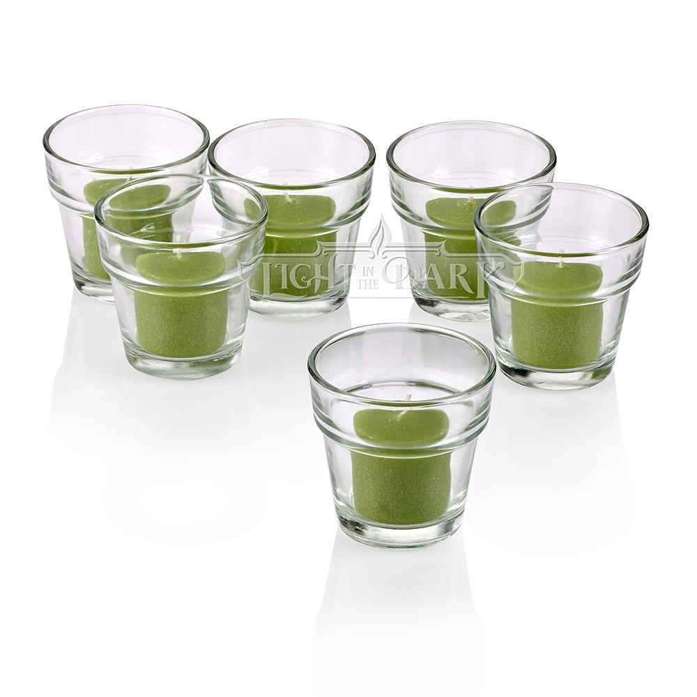 Clear Glass Flower Pot Votive Candle Holders With Lime Green Votive Candles Burn 10 Hours Set Of 12