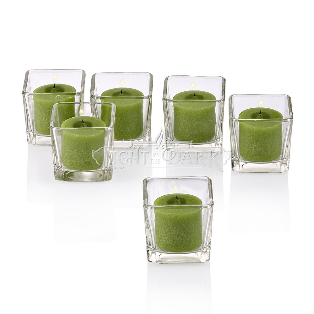 Clear Glass Square Votive Candle Holders With Lime Green Votive Candles Burn 10 Hours Set Of 12