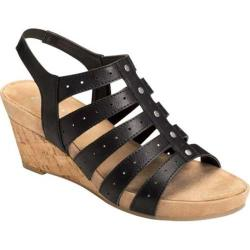 Women's Aerosoles Flight Path Wedge Sandal Black Faux Leather