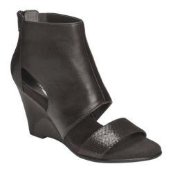 Women's Aerosoles High Gloss Wedge Black Leather