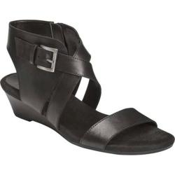 Women's Aerosoles Propryetor Wedge Sandal Black Leather