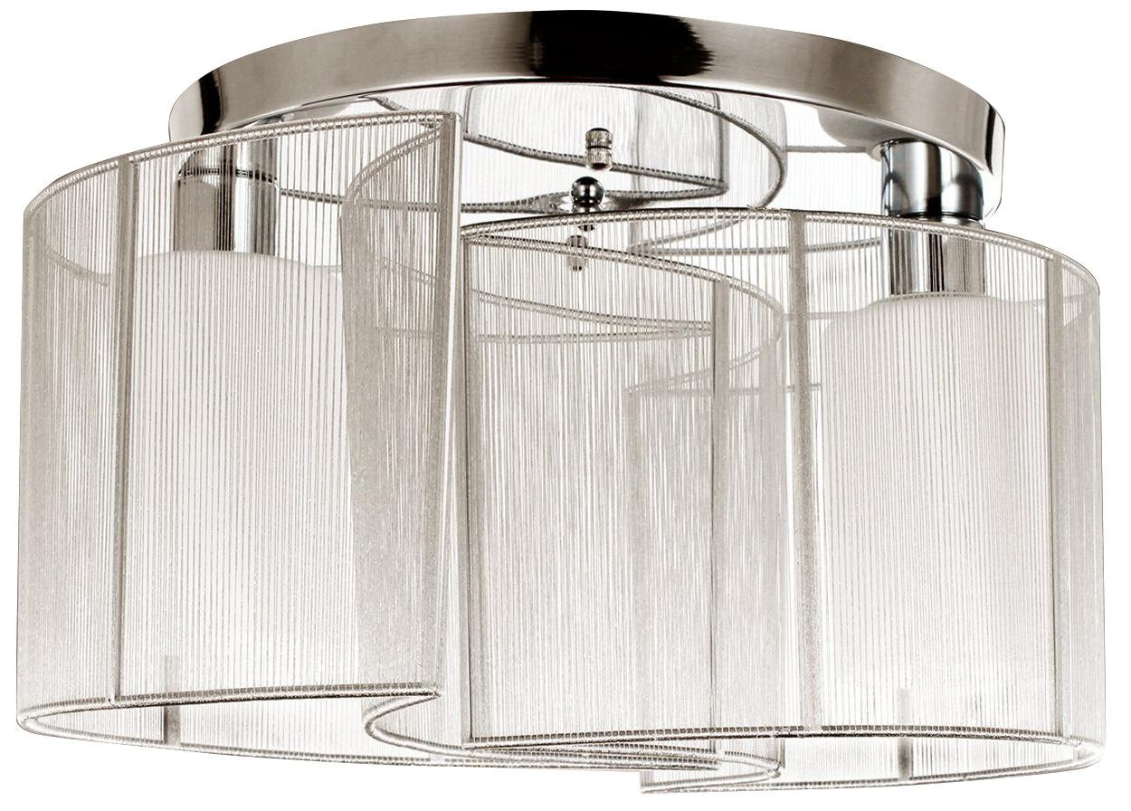 Chrome 2 Light, Semi Flush Mount Ceiling Light, Fixture, Glass Cloth Cover