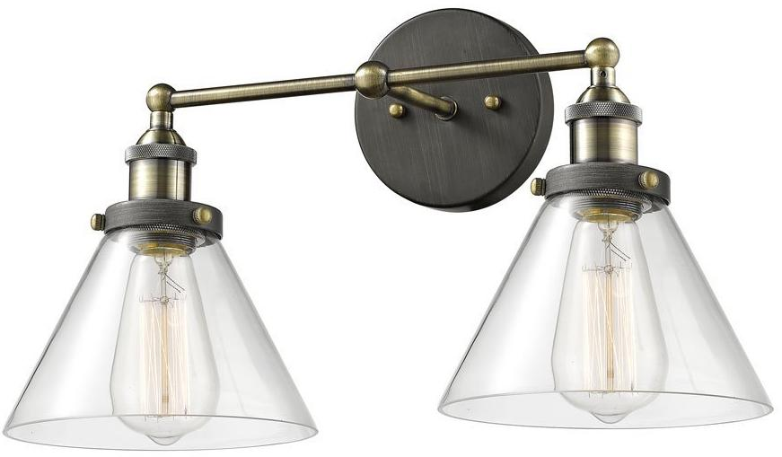 2 light Simplicity vintage industrial antique glass wall sconce wall lamp light
