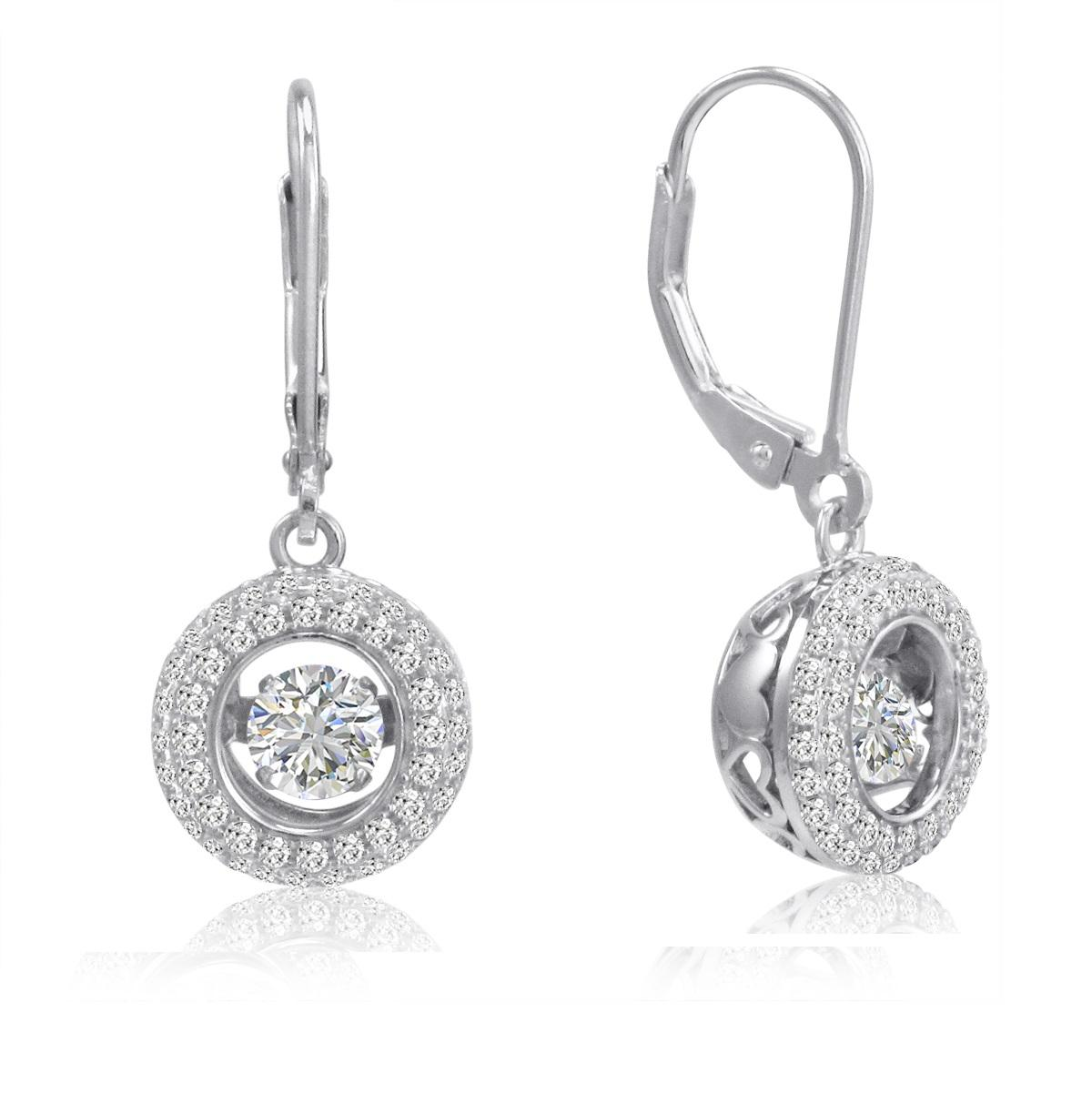 Amanda Rose Sterling Silver Gems in Motion Lever Back Earrings made with Austrian Crystal Zirconia