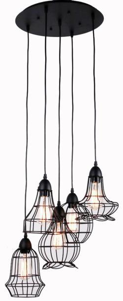 5 light black rustic barn industrial chandelier - Thumbnail 0