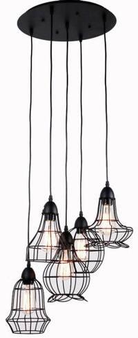 5 light black rustic barn industrial chandelier