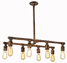 8 light vintage industrial island water pipe chandelier with copper finish - Thumbnail 0