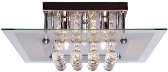 Contemporary Crystal Drop Flush Mount Light, 5 Light, Ceiling Light, Fixture
