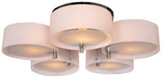 Acrylic 5 Light, Flush Mount Ceiling Light, Fixture, Chrome Finish