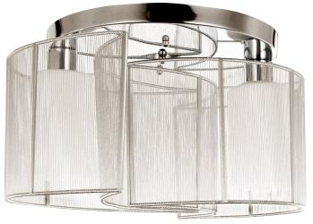 Chrome 2 Light, Semi Flush Mount Ceiling Light, Fixture, Glass Cloth Cover - Thumbnail 0