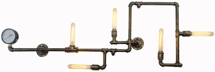 5 light copper painted vintage industrial water pipe wall sconce wall lamp light - Thumbnail 0
