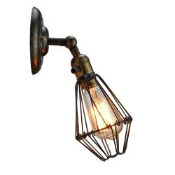 Vintage industrial edison wire cage wall sconce wall lamp light - Thumbnail 0