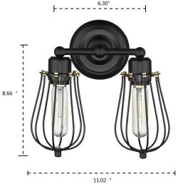 2 light simplicity retro industrial black wire cage wall sconce wall lamp light