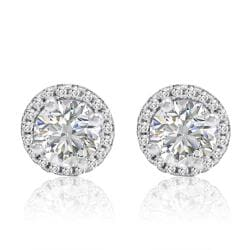 Amanda Rose Sterling Silver Halo Stud Earrings made with Austrian Crystal Zirconia (4 ctw.) - Thumbnail 0
